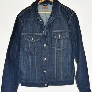 J. Crew dark denim jean jacket men's Large
